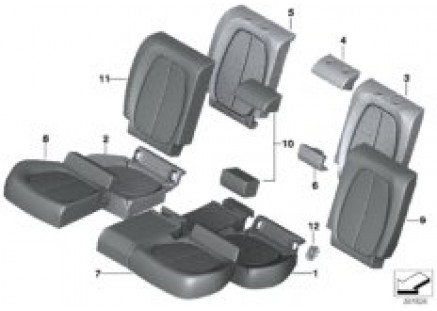Seat, rear, upholstery and cover
