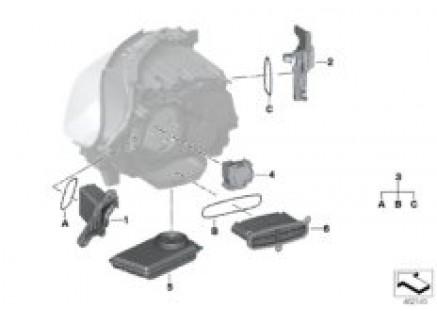 Electronic parts, headlight, LED