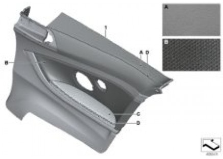 Indiv.lateral trim panel, leather