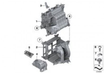 Housing components for rear a/c