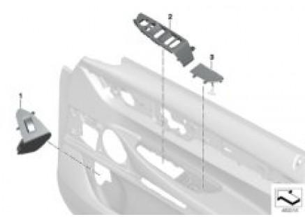 Ind. mounted parts front door trim panel