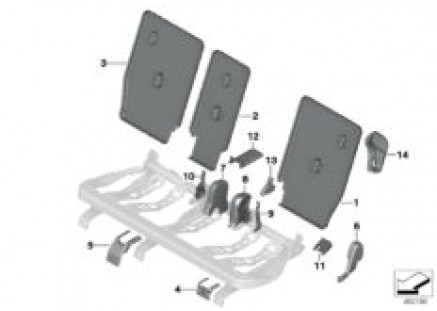 Seat, rear, seat trim covers