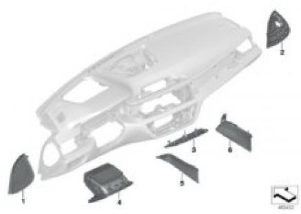 Individual instrument panel mount. parts