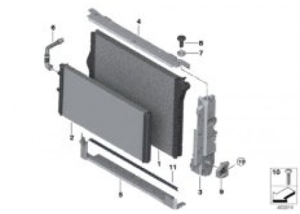 Coolant radiator mounting hardware