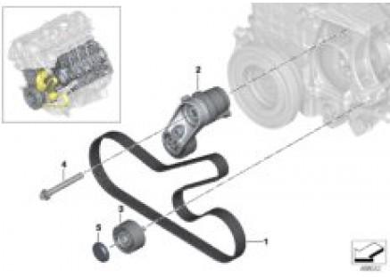 Belt drive for alternator/air condition.