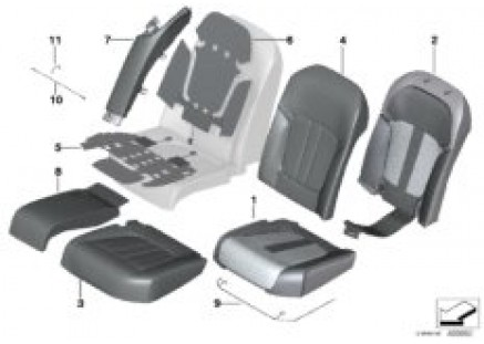 Seat rear, uphols & cover, Comfort seat