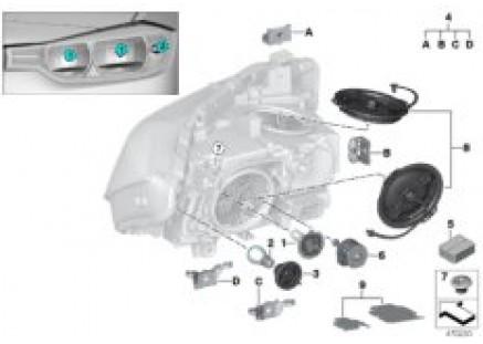 Individual parts for headlamp, halogen