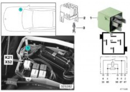 Relay, auxiliary fan, stage 1 K21
