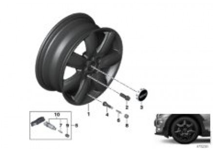 MINI LA wheel bridge spoke 528 - 17