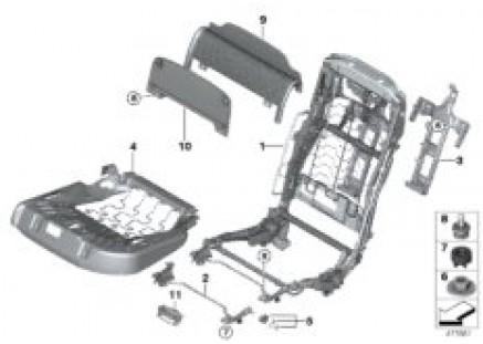 Seat, rear, seat frame, Comfort seat