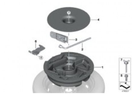 Compact spare wheel retainer