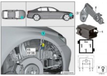 Relay for electric fan motor, K5