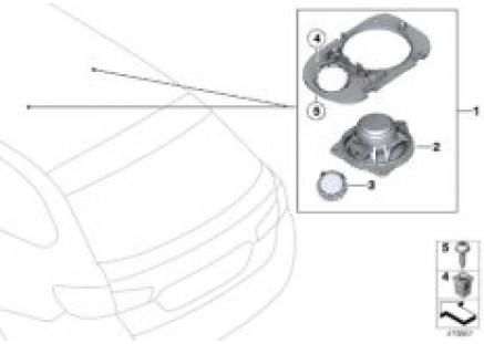 Parts f rear moulded headlng loudspeaker