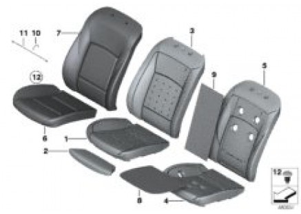 Seat, front, upholstery and cover lines