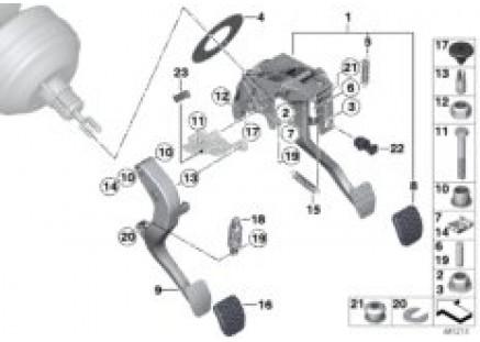 Pedal assy w over-center helper spring