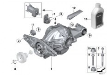 Rear axle differential M-vehicle