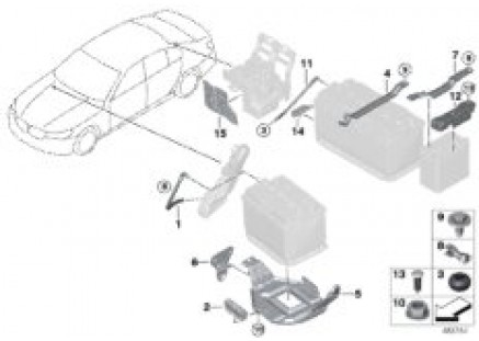 Battery, surface-mounted parts