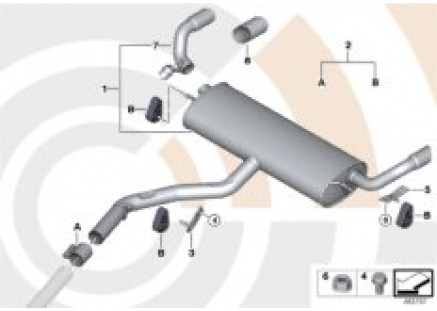 Rear silencer and installation kit