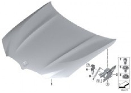 Engine hood/mounting parts