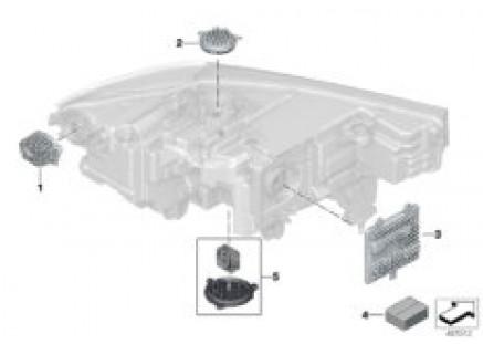 Single parts, headlight electronics