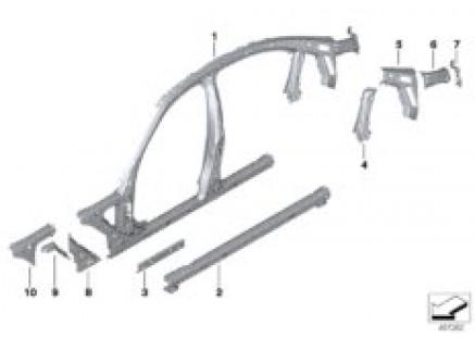 Side frame section, center
