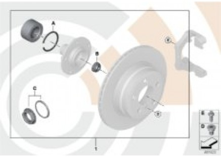 Repair kit for wheel bearing, rear
