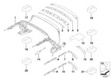 Folding top mounting parts