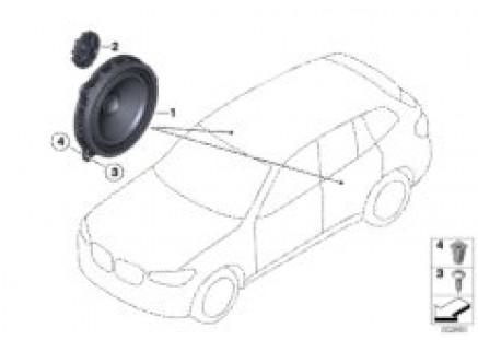 Single parts f rear door loudspeaker